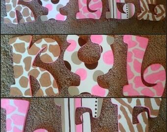Animal Print  Letters - Hand Painted Letters - Wood Letters - Name Letters - Wall Letters - Girls Bedroom Decor - Giraffe Letters - Giraffe