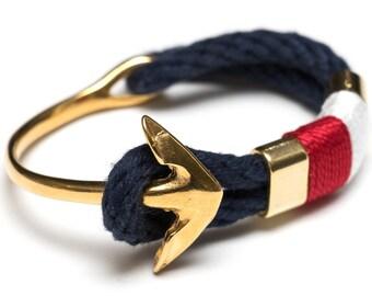Nautical Rope Bracelet / Nautical Anchor Bracelet / Navy Blue Anchor Bracelet / Gold Anchor Bracelet / Patriotic Bracelet