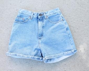 Light Wash High Waisted Denim Shorts - Small