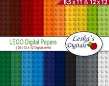 "Digital Scrapbook Paper: ""LEGO DIGITAL PAPER"" Lego backgrounds, Lego party invites, Lego Scrapbooking Paper, Lego printable pattern"
