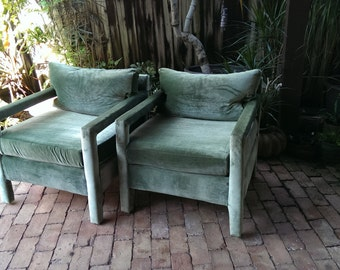 pair of vintage milo baughman style parsons chairs