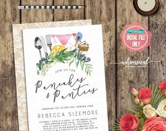 "Lingerie Shower Invitation ""Pancakes & Panties"" (Printable File Only) Bridal Shower Invite, Pancakes and Panties, Wedding Shower, Ooh La La"