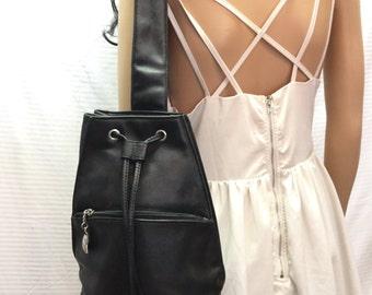 Free Ship, Black Sling, Faux Leather, Shoulder Bag