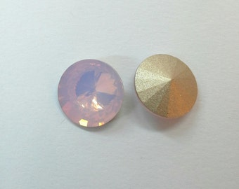 2 PCs. Rivoli Crystal 16 mm Opal pink