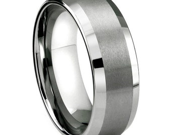 Ring AND Personalized High-Gloss Ring Box -- 8mm Tungsten Carbide Wedding Band Ring with Matte Finish, Shiny Beveled Edges; Men, Women