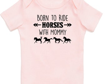 Born to Ride Horses With Mommy Baby T-Shirt, Infant Baby Shower Gift for Girls, Pink Equestrian Clothing