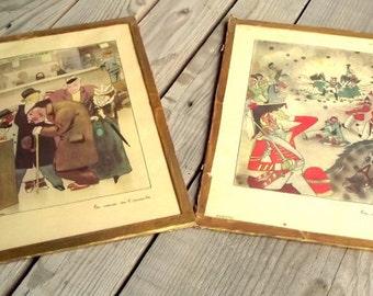 French Vintage Illustrations - Drawings Under Glass - 1940s - J. Touchet for Glottyl - LA Voix du Peuple - La voix de l'Oracle