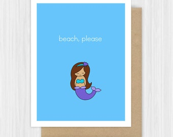 Funny Card Friendship Pun B**ch Please Beach Mermaid Sassy Snarky Cards For Friend Girlfriend BFF Her Fun Just Because Handmade Greeting