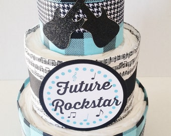 Future Rockstar Diaper Cake Centerpiece, Boys Rock Baby Shower, Rock a Bye Baby Shower Decor, Baby Boy Shower Table Centepiece