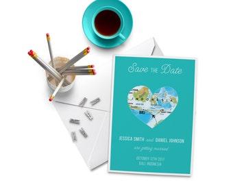 Bali Destination Wedding Invitation. World Maps Island Wedding. Beach Wedding.