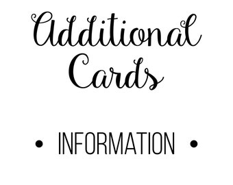 PRINTED Add-On Cards Information Cards