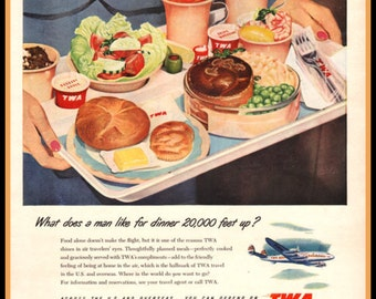 1951 TWA Airlines vintage magazine ad- Shows in-flight meal tray from back in the day; print, ephemera, for decor