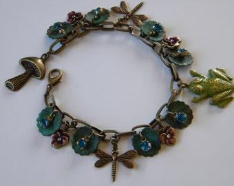 Lily Pad Pond and Frog Charm Bracelet Toad and Dragonfly Bracelet Vintage Inspired Charm Bracelet