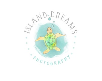 Watercolor Business Logo, watercolor, island, photography, watermark, Hawaii, sea turtle - Newborn photography logo, nature, flowers