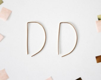 Semi Circle Threader Earrings - 14K Gold Filled Wire Arc Earrings - Bar Geometric Earrings