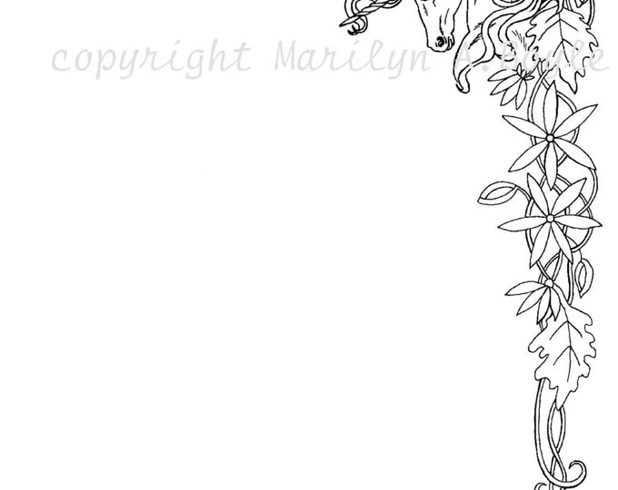 DIGITAL BORDER - fANTASY; unicorn, flowers, flourishes, from an original pen and ink,