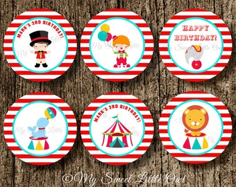 Circus cupcake topper - circus sticker - red circus label - circus baby shower - circus birthday - carnival label - circus printable