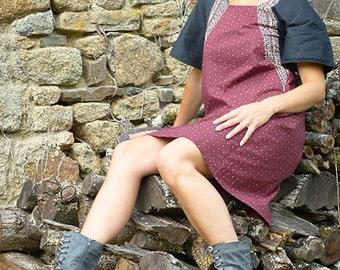 Bonheur: a hand printed patchwork cotton dress -Burgundy-black
