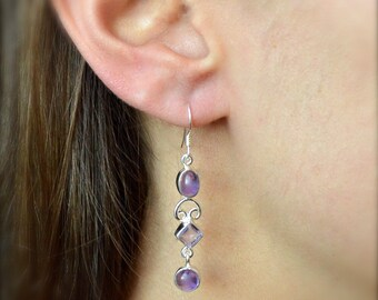 Three Stone Amethyst Dangle Earrings // Amethyst Jewelry // Sterling Silver // Village Silversmith