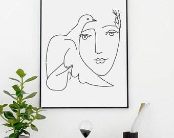 Picasso Peace Print  - Wall Decor - Home Decor - Girl - Dove Print - Picasso- Picasso Sketch - Pablo Picasso - Dove of Peace - Custom Size