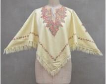 Boho / Ethnic poncho, 1970's style poncho, Indian cream Kashmir / Ari embroidered shawl / scarf with head hole, Hippy / Hippie / Festival