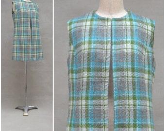 Vintage waistcoat / Vest, Ladies 1960s / 70s tweed waistcoat, longline sleeveless jacket, Green / Turquoise / Grey checked / plaid wool, Mod