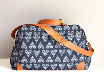DIAPER BAG, Nappy bag, Triangle grey hearts on black background/ big diaper bag, weekender, sleepover bag, baby bag, mommy bag, changing bag