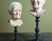Vintage Doll Heads Freaky Grandma and Grandpa Plastic Dollheads Old People Assemblage Craft Supplies Creepy Decor Syndee's Doll Parts 1980s