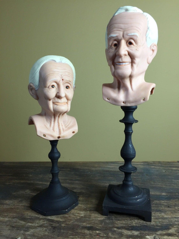 Vintage Doll Heads Freaky Grandma And Grandpa Plastic