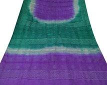 Vintage Saree Home Decor Curtain Drape Pure Khadi Silk Decorative Fabric Bandhani Printed Sari Sarong Purple Curtain Drape PSK594