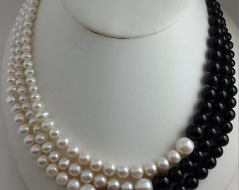 black onyx and pearl necklace