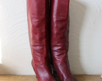 vintage burgundy red italian leather tall mid-calf boots with stacked wood heel - size 7.5