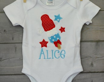 Personalized Popsicle Bomb Pop Applique Shirt or Onesie Girl
