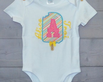 Personalized Popsicle Initial Applique Shirt or Onesie Girl