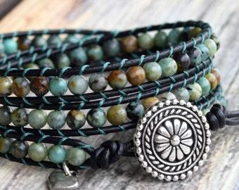 African Turquoise Wrap Bracelet, Wrap Bracelet, Turquoise Wrap, Beaded Wrap Bracelet, Boho Wrap Bracelet, Bracelet Wrap, Leather Wrap