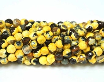 6mm Round Beads, Yellow Agate, Round Yellow Agate Beads, 1 Strand, Round Beads, Natural Stone Beads, Faceted Agate Beads, Wholesale Beads