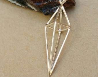 Long Sterling Silver 3D Diamond Link Pendant, Silver Geometric Diamond Pendant, Geometric Necklace, Diamond Jewelry, Geometric Jewelry