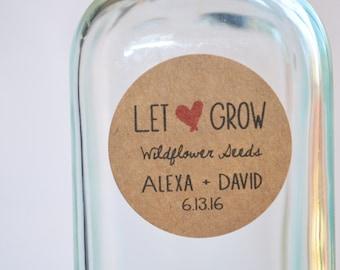 "30 Kraft 1.5"" Round Sticker Label Tags - Custom Wedding Favor & Gift Tags - Let Love Grow Kraft"