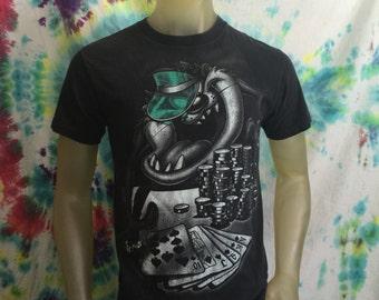 90s Taz Monochrome Poker Shirt Royal Flush Lucky Bling