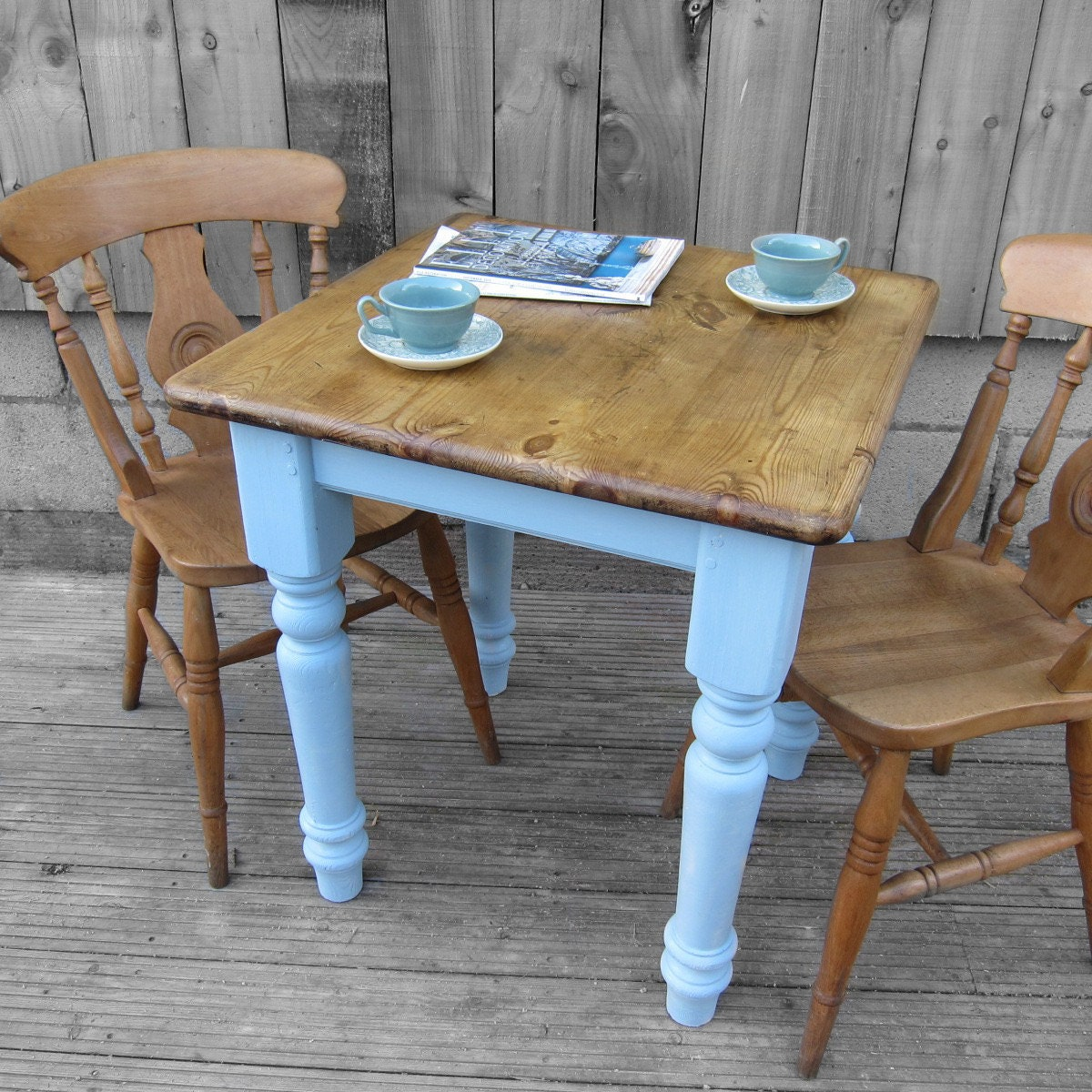 Vintage Old Traditional Painted Farrow & Ball Lulworth Blue – Pine Solid Wooden Country