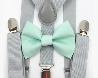 FREE DOMESTIC SHIPPING! Light gray suspenders  + Mint Green Bow tie toddler kids holidays photos family photoshoot