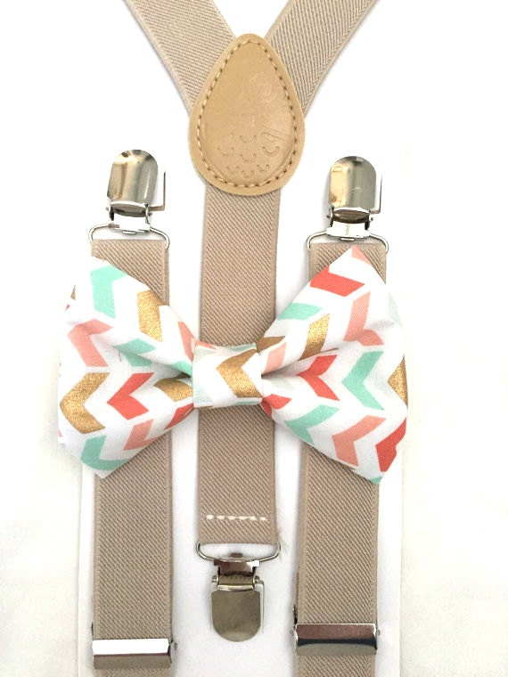 Tan Suspenders and Gold/Mint/Coral Bow Tie