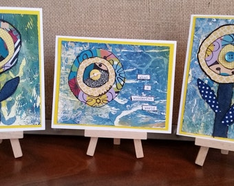 Set of 3 Original Cheerful Greeting Cards; Mixed Media Art; Happy Art; Whimsical Flowers