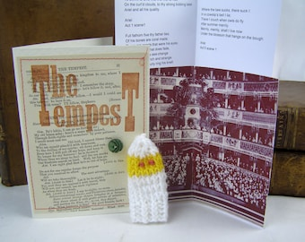 Shakespeare. Tempest. Ariel.  Gift Box with knitted Ariel actor, folded stage, speeches.