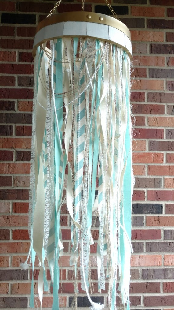 Fabric Chandelier - Barrel Decor - Mint and Lace Decor - Wall Hanging