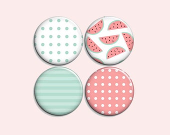 """Watermelon set - pinback  buttons or magnets 1.5"""""""