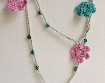 Blue, green and pink flowers Turkish style beaded crochet necklace