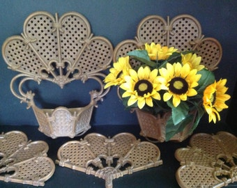 Vintage l980 2 wall planters and 3 decorative accents with woven wicker bamboo look by Burwood
