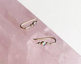 14k Gold Opal & Diamond Ear Climber - Gold Bar Earrings - Ear Cuff - Gift For Her - Simple Minimalist Everyday Jewelry LITTIONARY