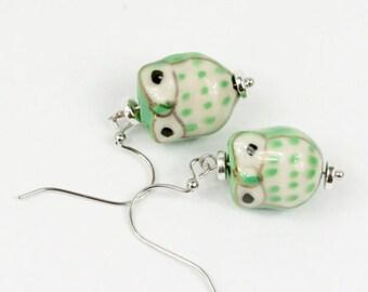 Green Ceramic owl Drop Earrings #1022